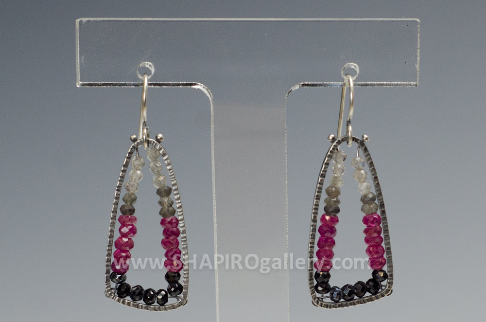 Medium Trigonal Geode Earrings with Ruby, Labradorite and Spinel
