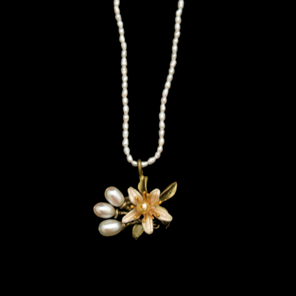 Orange Blossom Flower Pearl Necklace