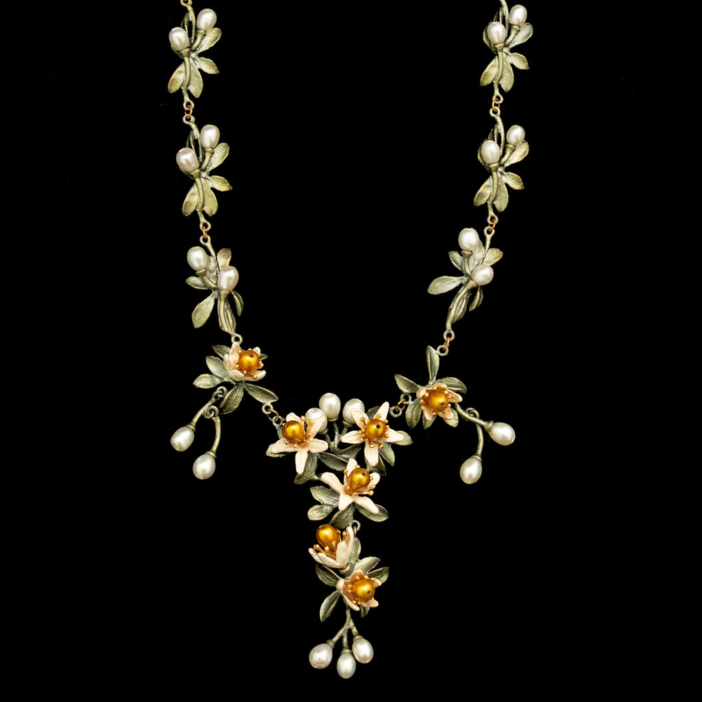 Orange Blossom Flower Statement Necklace