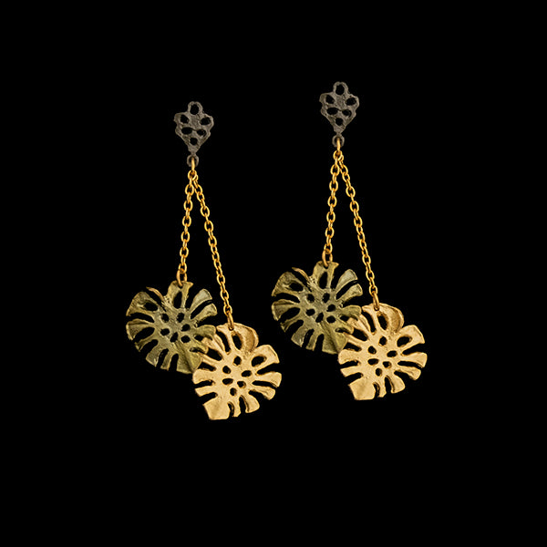 Monstera Dangle Post Earrings