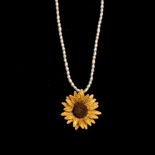 Small Sunflower Necklace on Pearls