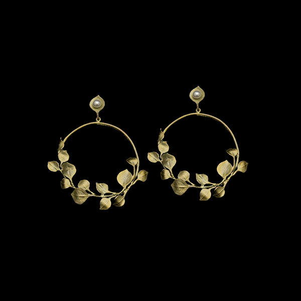 Round Leaf Eucalyptus Hoop Earrings