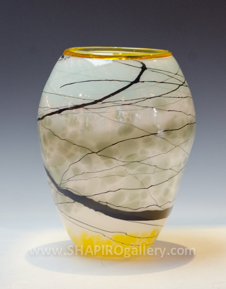 Grey Lightning Blown Glass Vessel