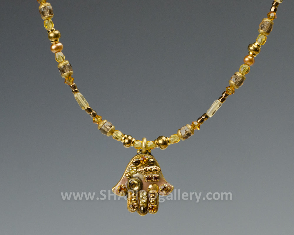 Small Golden Color Hamsa Necklace