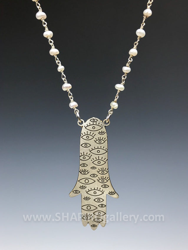 Sterling Silver Hamsa with Pearls - Reversible