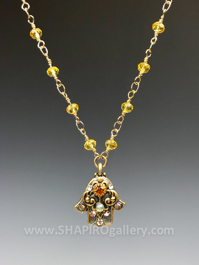 Small Yellow Hamsa Necklace