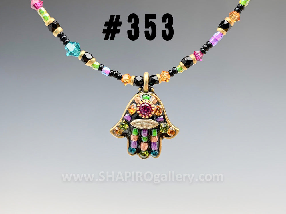 Small Hamsa Necklace (many colors available)