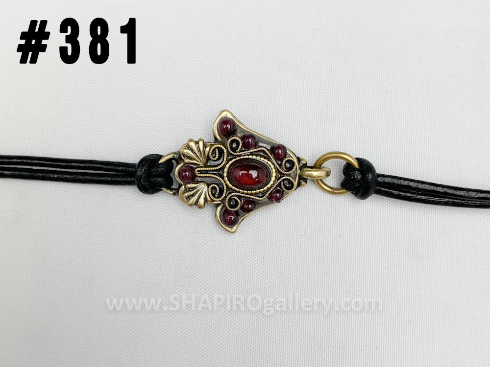 Hamsa Bracelet on Leather Cord (many colors available)