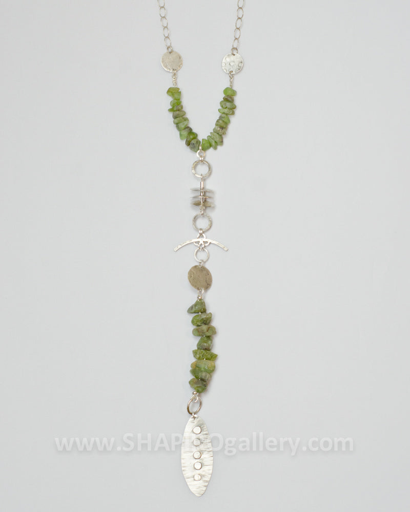 Peridot Y Drop Necklace
