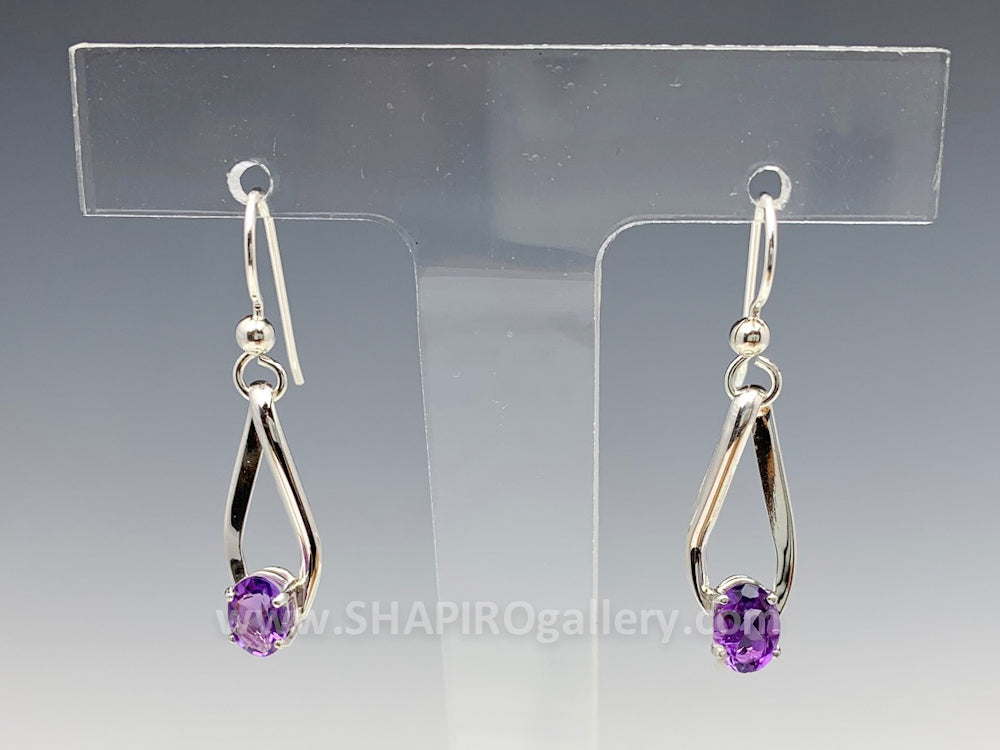 Amethyst Ellipse Earrings