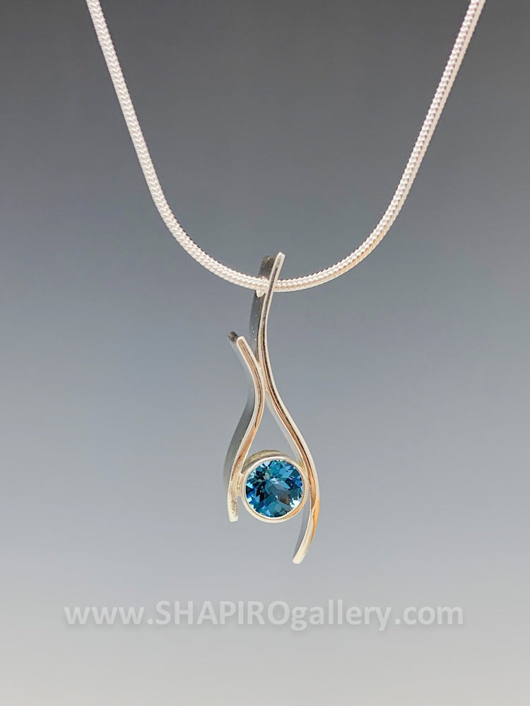 Blue Topaz Squiggle Necklace