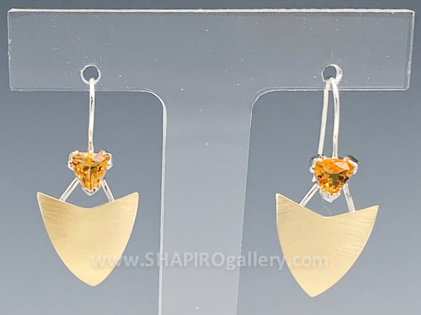 Citrine Shield Earrings
