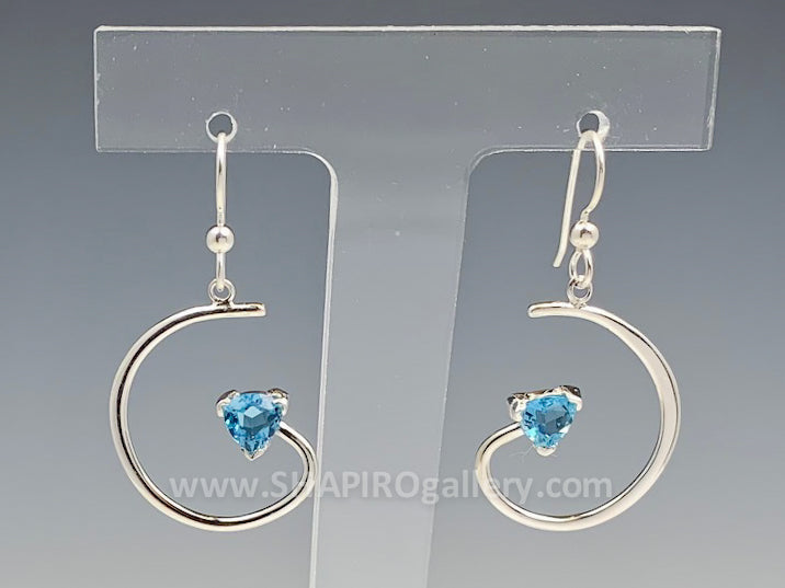 Blue Topaz Spiral Earrings