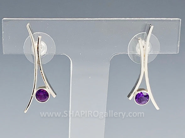 Amethyst Whisp Post Earrings