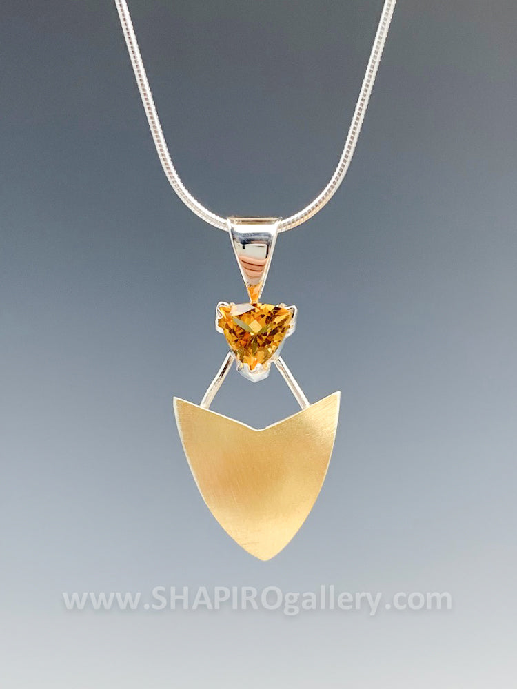 Citrine Shield Necklace