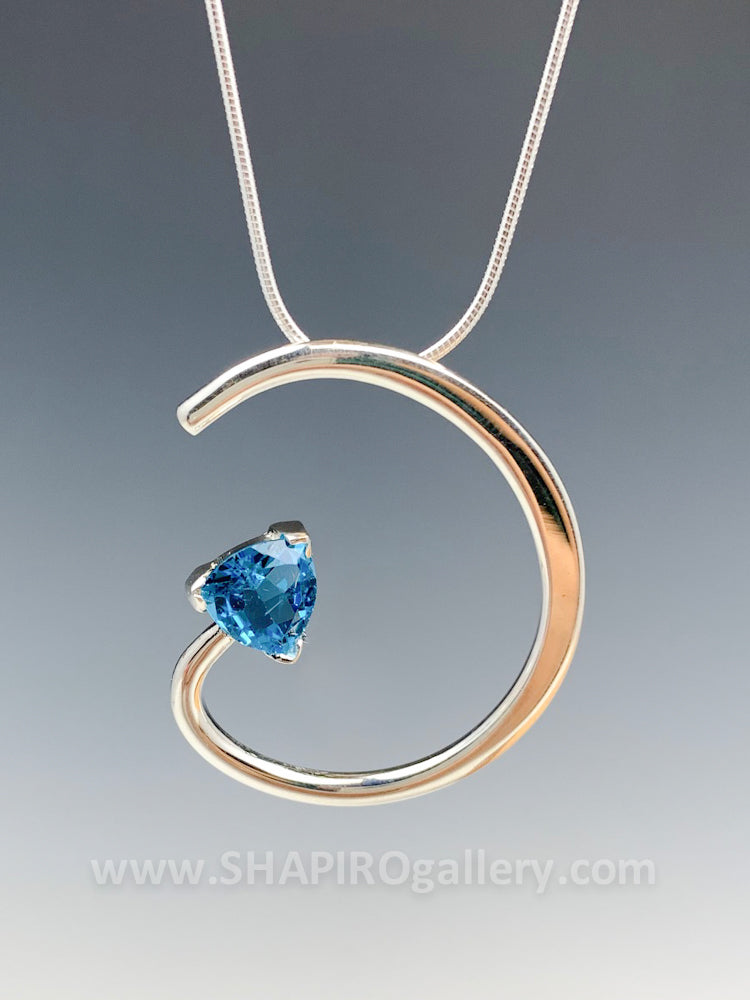 Blue Topaz Spiral Necklace