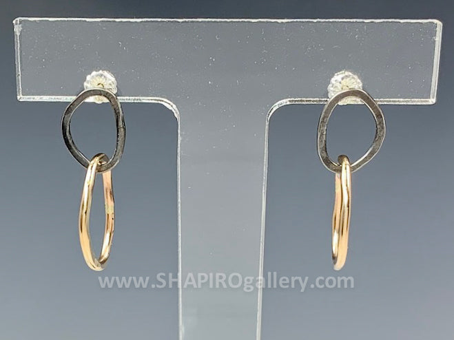 Black and Gold Shape Post Earrings