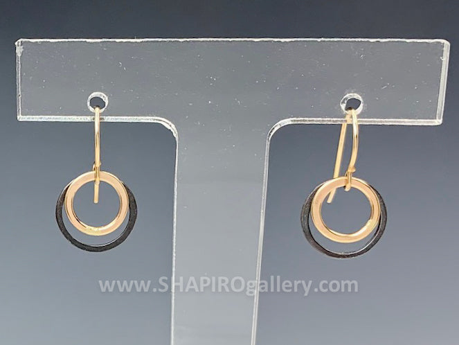 Black and Gold Small Circle Earrings