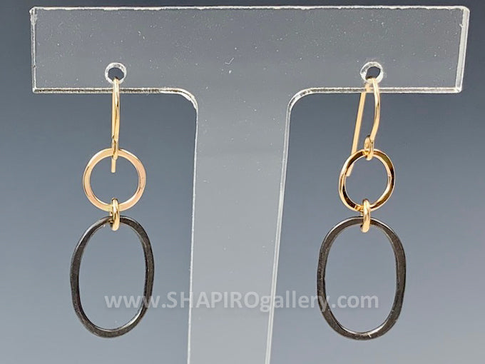 Black and Gold Linked Circle Earrings