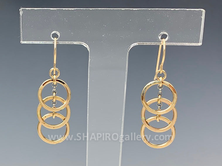 Three Overlapping Circle Earrings