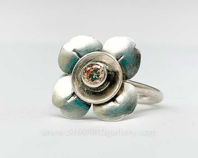 Champagne CZ Flower Ring