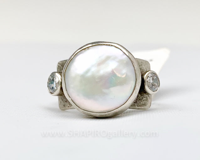 Coin Pearl and White CZ Ring