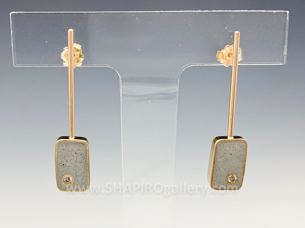 Rectangle Drop Concrete and Diamond Earrings