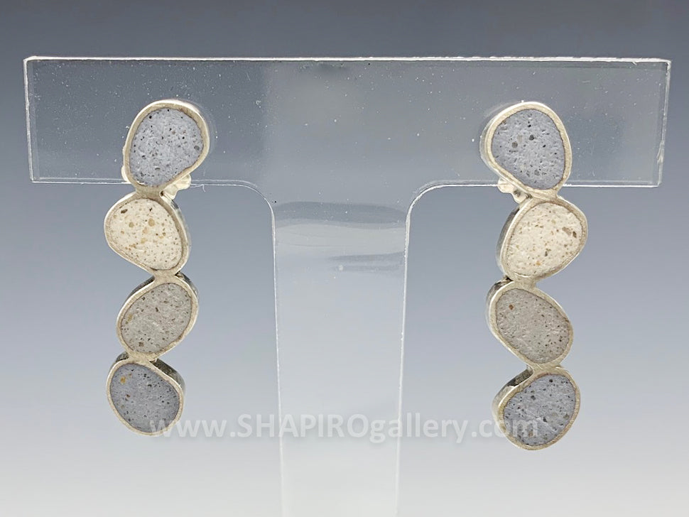 Multi Pebble Concrete Earrings
