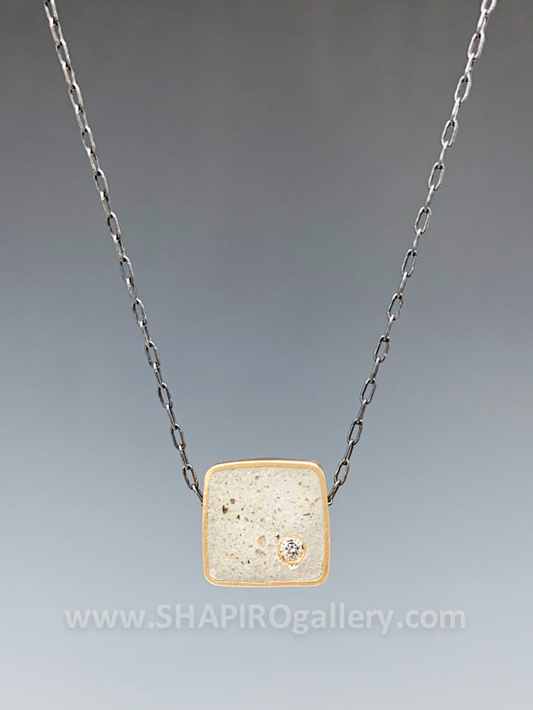 Square Concrete and Diamond Necklace