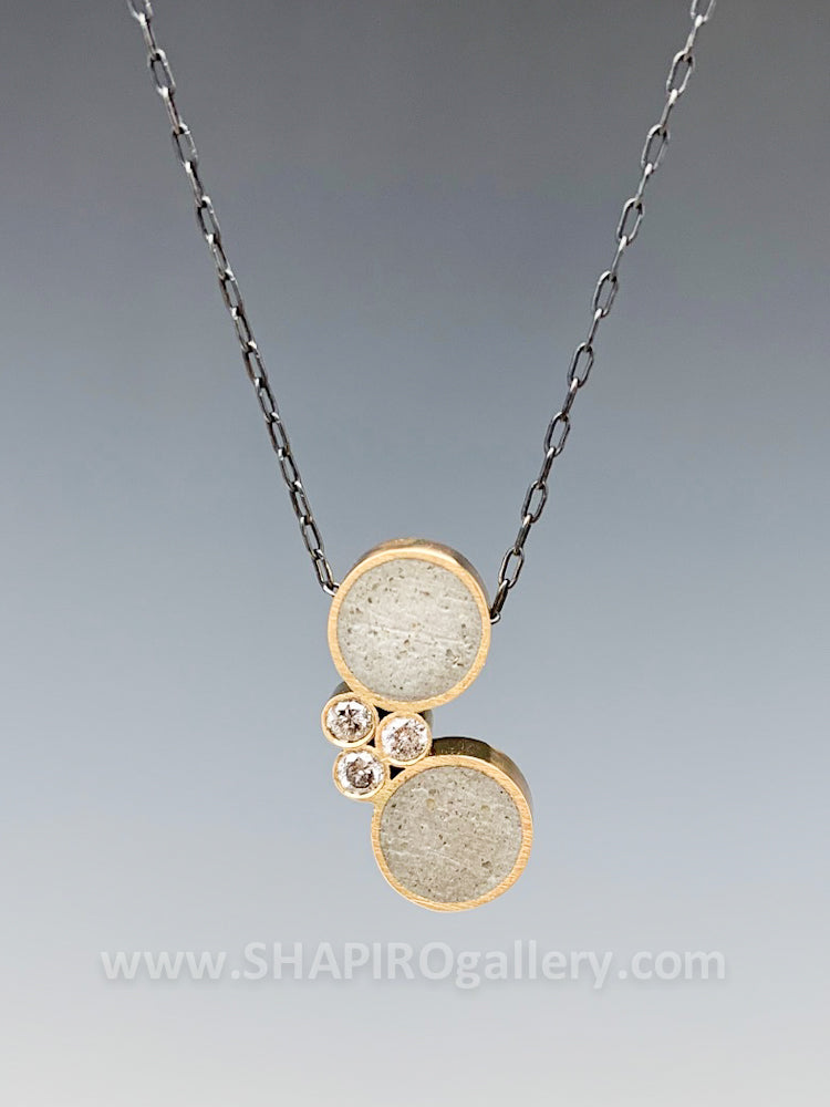 Harmonius Circle Concrete and Diamond Necklace