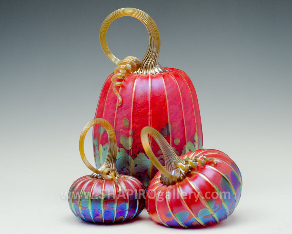Set of Three Blown Glass Pumpkins - Red