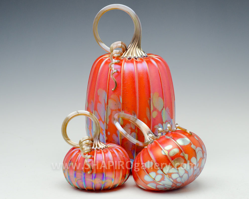 Set of Three Blown Glass Pumpkins - Orange
