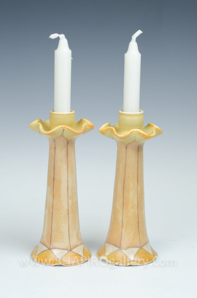 Yellow Shabbat Candlesticks