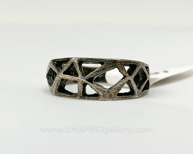 Cutout Oxidized Sterling Silver Ring