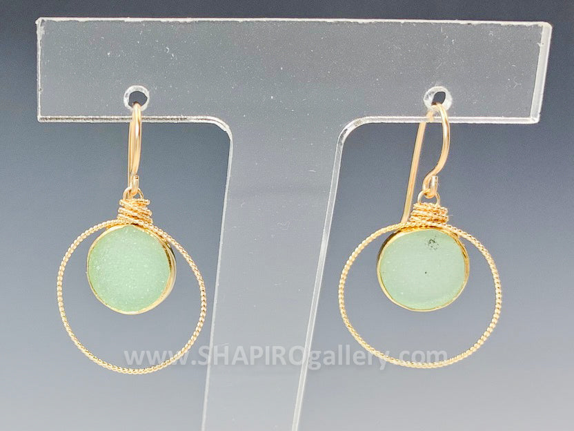 Small Circle with Sea Green Druzy Earrings