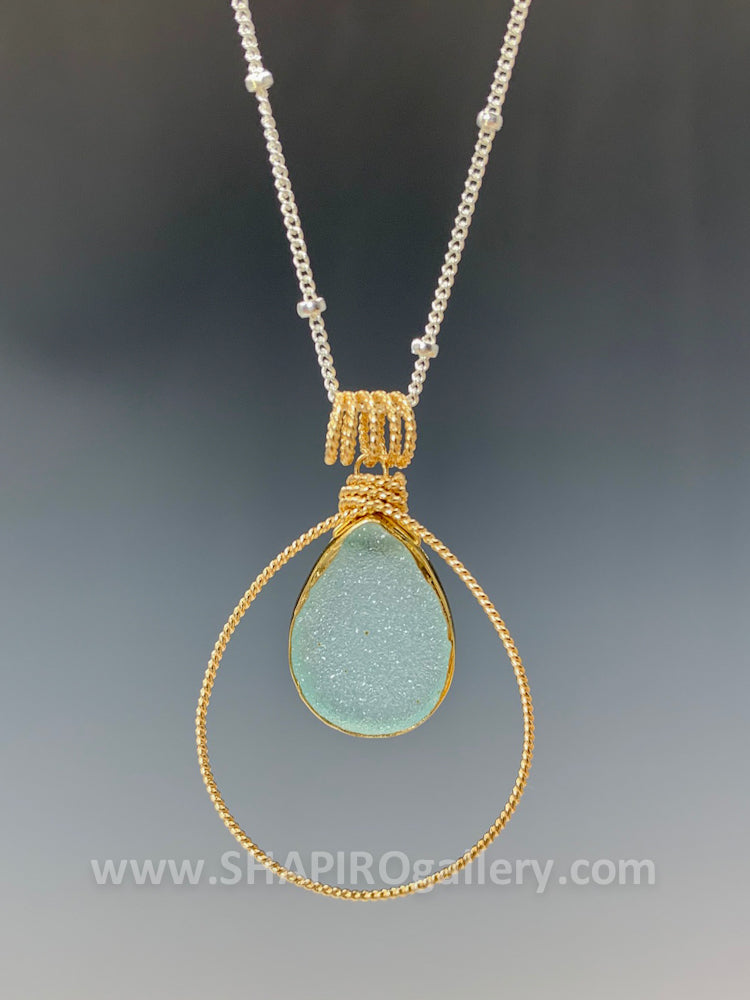 Pear Shaped Sea Green Druzy Necklace