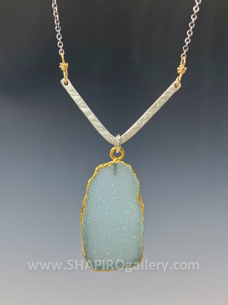 Chevron with Sea Green Druzy Necklace