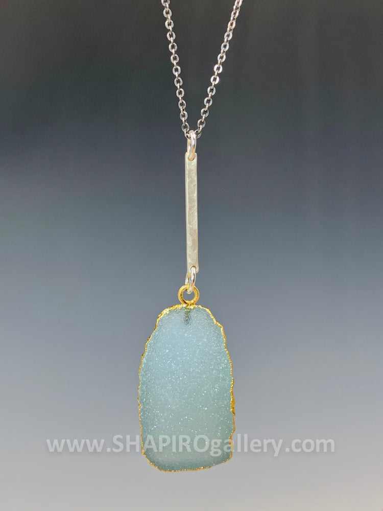 Line Drop with Sea Green Druzy Necklace
