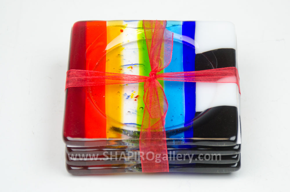 Rainbow Glass Coasters