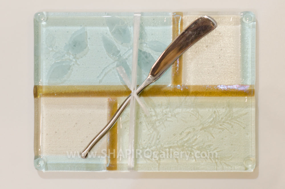 Watercolors Glass Cheese Plate with Spreader