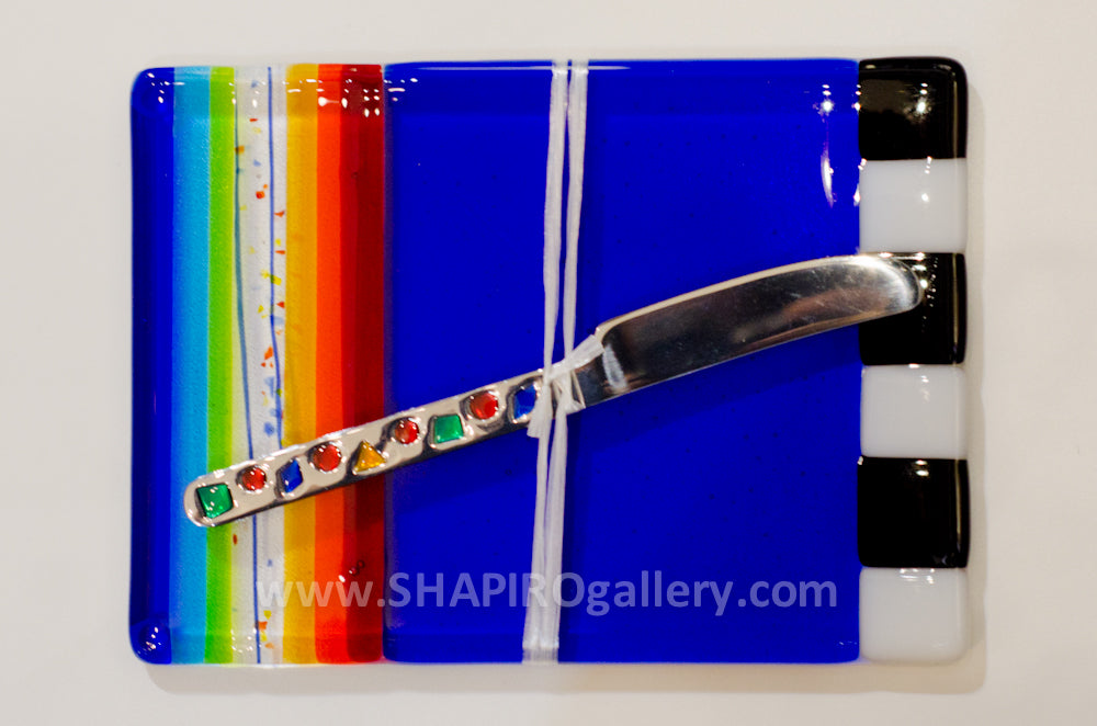 Rainbow Glass Cheese Plate with Spreader