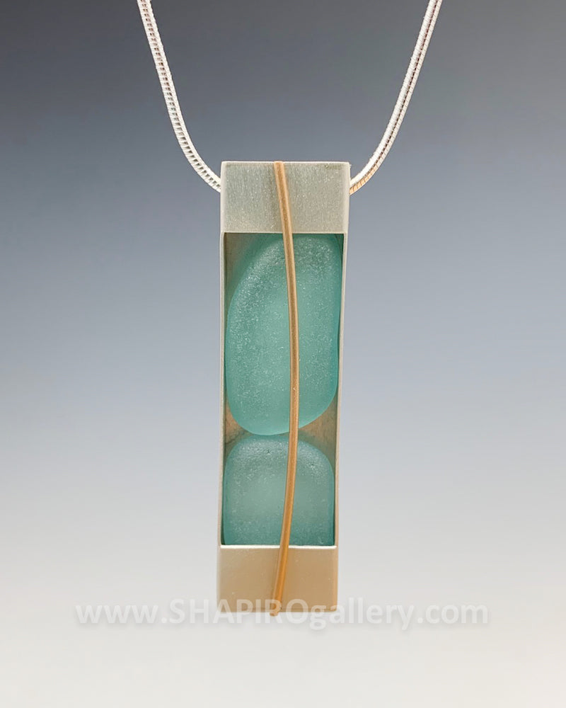 Tumbled Glass Rectangle Necklace
