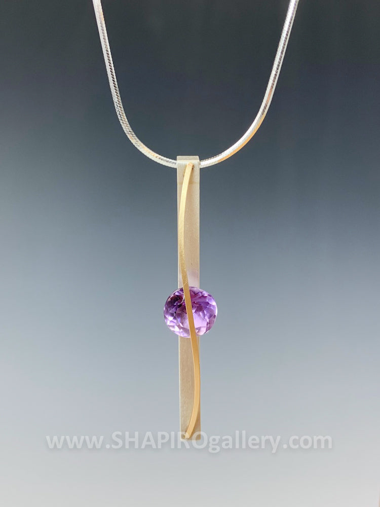 Amethyst Skinny Drop Necklace
