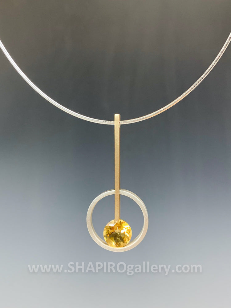 Citrine with Line and Circle Necklace