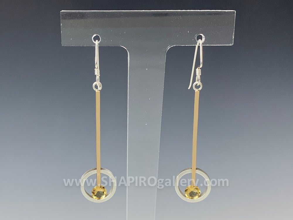 Citrine Circle Line Earrings