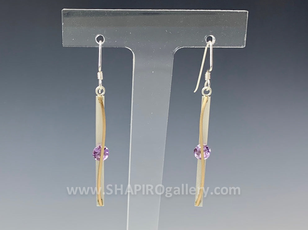 Skinny Drop Amethyst Earrings