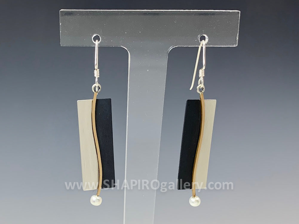 Black, Gold and Silver Rectangle Earrings