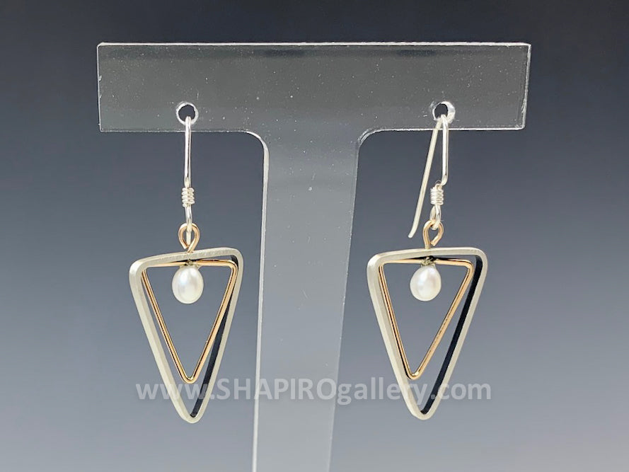 Two Tone Triangle with Pearl Earrings