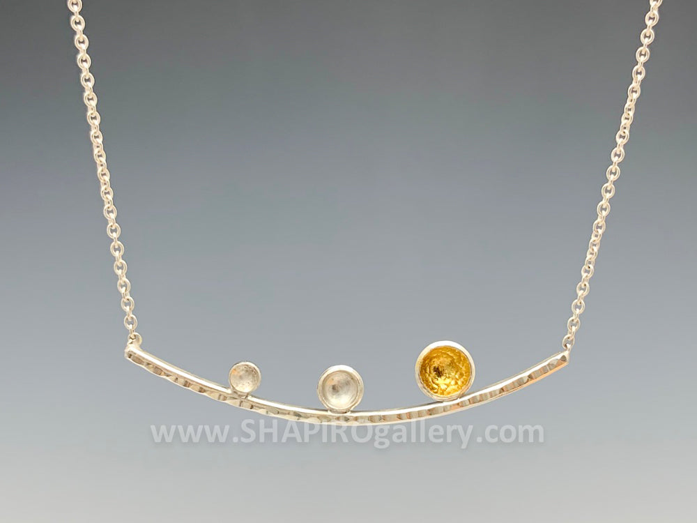 Tiny Pod Bar Necklace with Sterling Silver and 18K