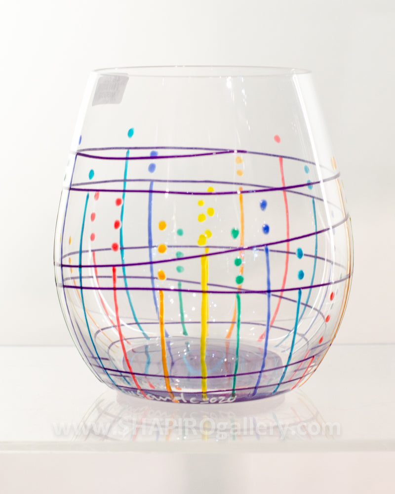 Handpainted Stemless Wine Glass (multiple colors available)